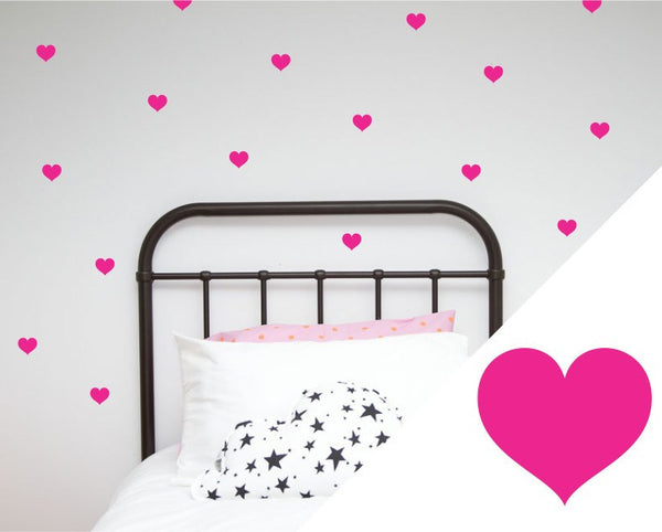 100PercentHeart | Wall Stickers Small Hearts Hot Pink | Shut the Front Door