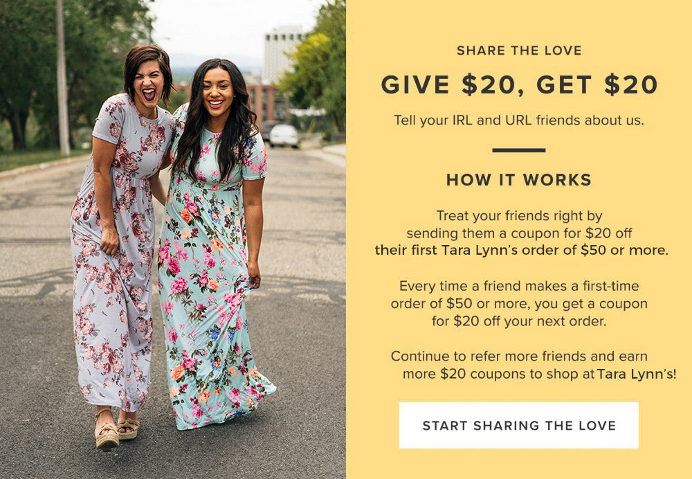 Give $20 Get $20 at Tara Lynn's Boutique