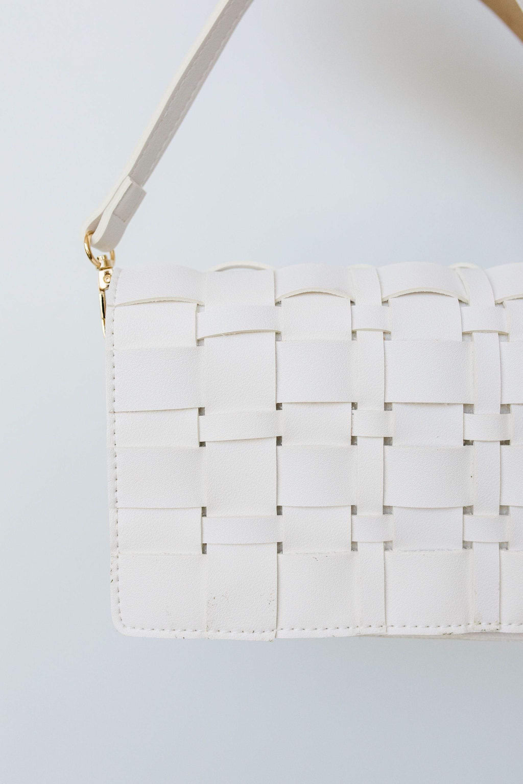 Ave Shops Accessories Woven Vegan Leather Clutch
