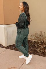 Ave Shops Bottoms Cozy Joggers in Hunter Green