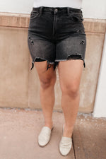 Ave Shops Bottoms Distressed and Destroyed Denim Shorts