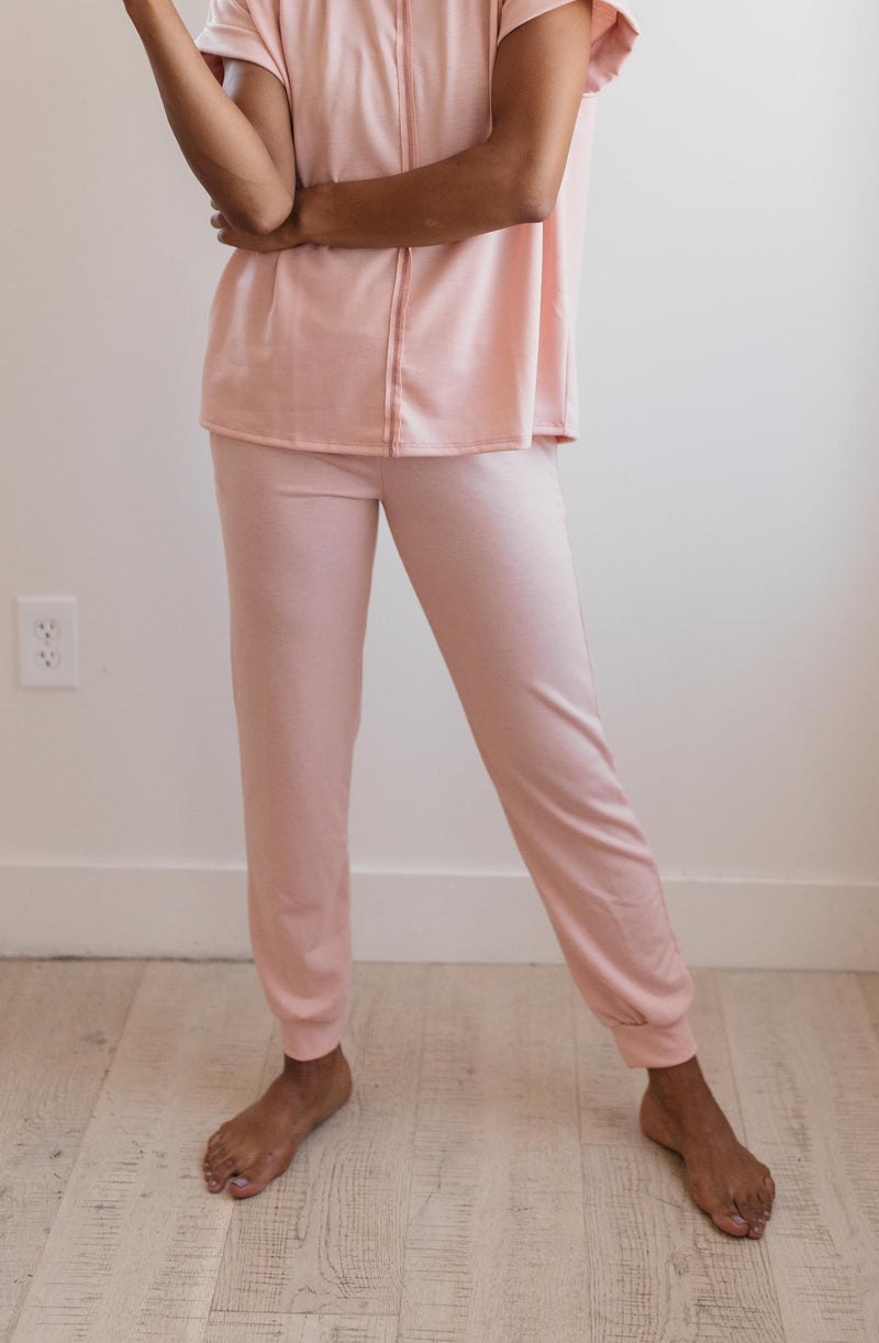 Ave Shops Bottoms Luxurious Loungewear Joggers In Blush