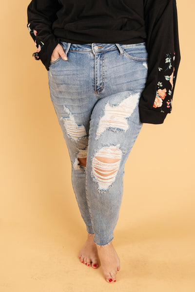 Ave Shops Bottoms Old Is New Distressed Jeans