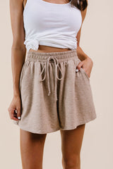 Soft Landing Drawstring Shorts In Mocha