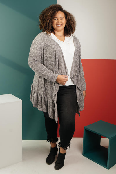 Ave Shops Cardigan The Avalynn Heathered Cardigan in Smoky Coal