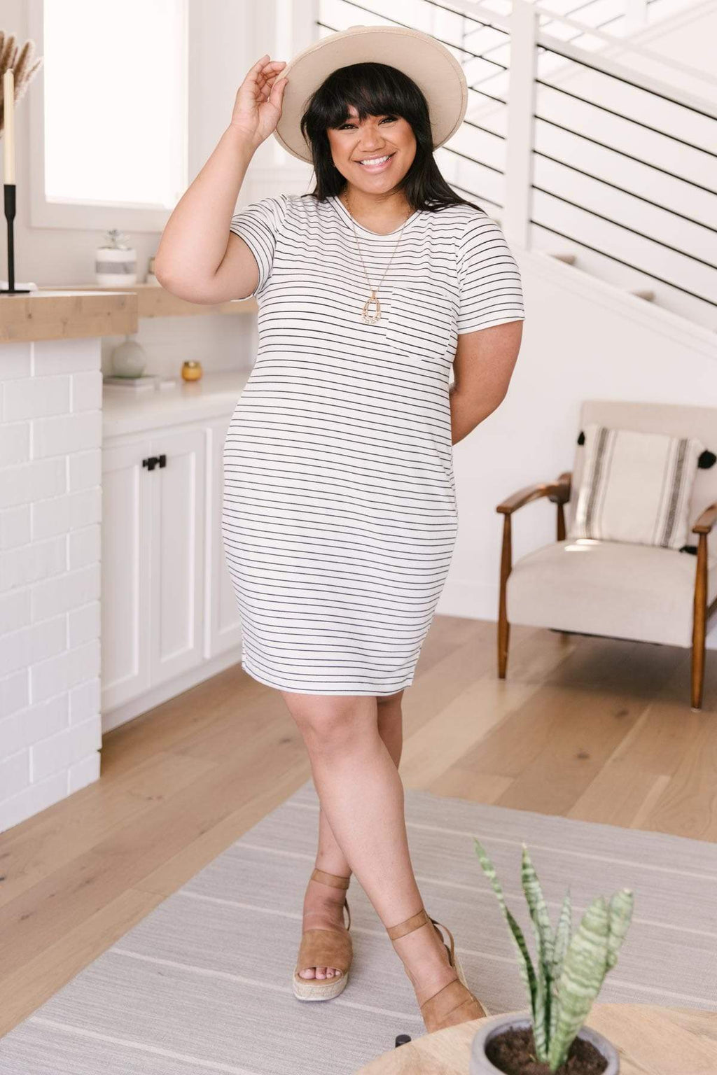 Ave Shops Dresses Stockholm Stripes T-Shirt Dress
