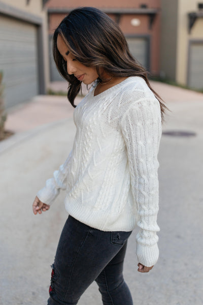 Ave Shops Tops Cozy Cropped Sweater in White