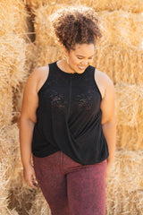 Ave Shops Tops Knotted Hem Tank in Black