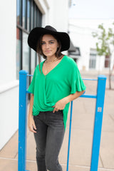 Ave Shops tops Nice Surprise Surplice Knit Top In Kelly Green