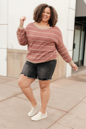 Ave Shops Tops Ribbed and Striped Sweater in Mauve
