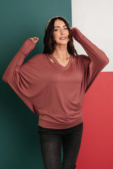 Ave Shops Tops The Lillian Cut-Out Neckline Top in Rust