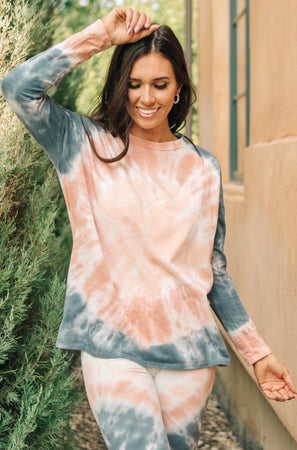 Ave Shops Tops Tickle Me Tie Dye Top in Peach