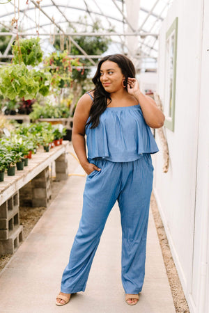 Ave Shops Womens Crosshatch Jumpsuit in Denim