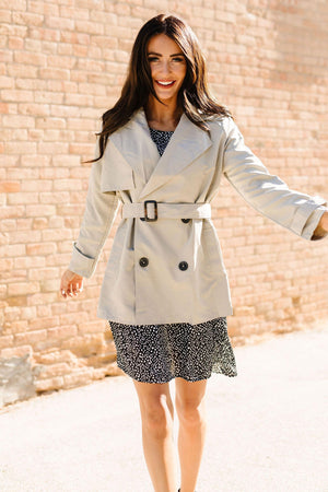 Ave Shops Womens Double Agent Short Trench Coat