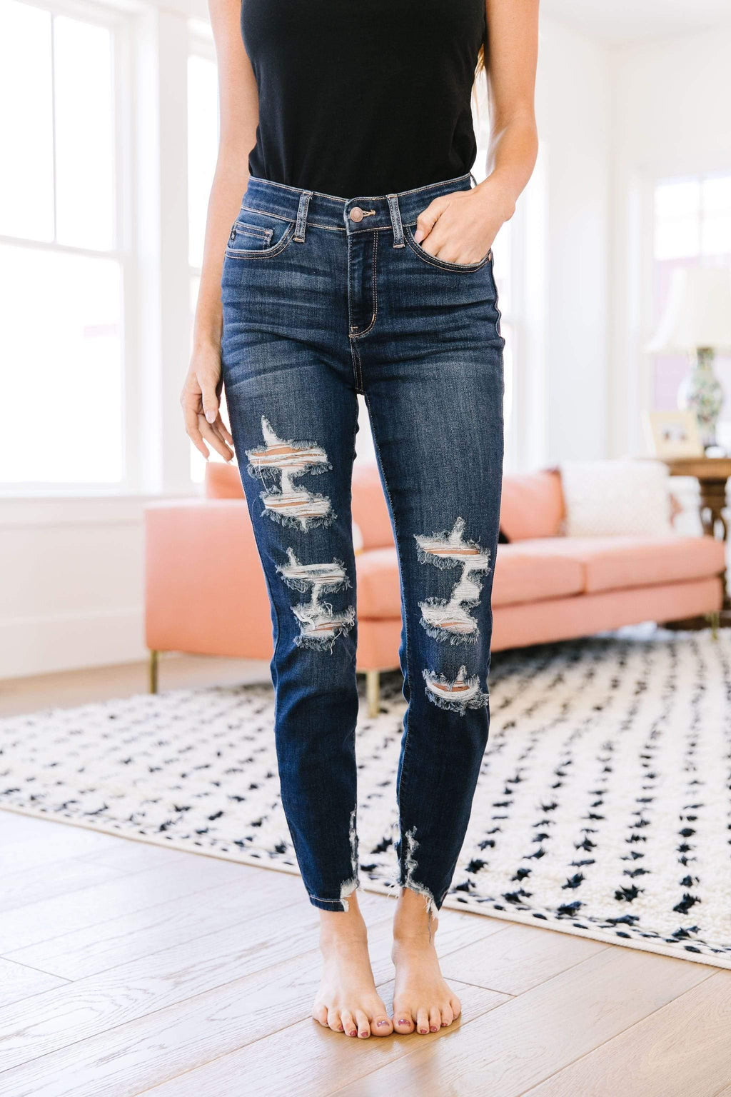 Ave Shops Womens Double Down Destroyed Jeans