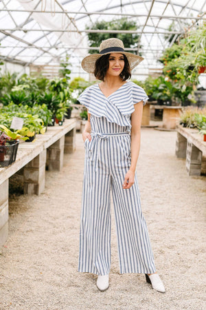 Ave Shops Womens Nautical & Nice Striped Jumpsuit