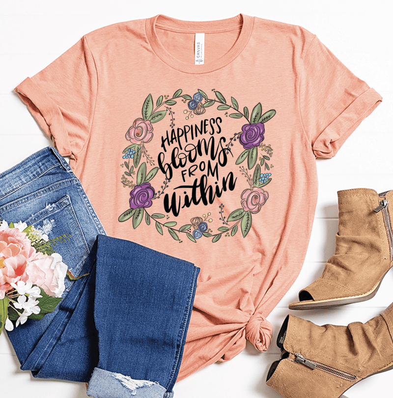 Exclusive Thredz Graphic Tee Happiness Blooms From Within Graphic Tee