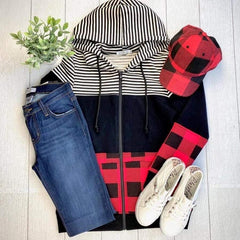 Buffalo Plaid and Stripes Full Zip Hoodie