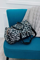 Morgan Brown PRE-LOVED Leopard PU Leather Crossbody Duffel Bag