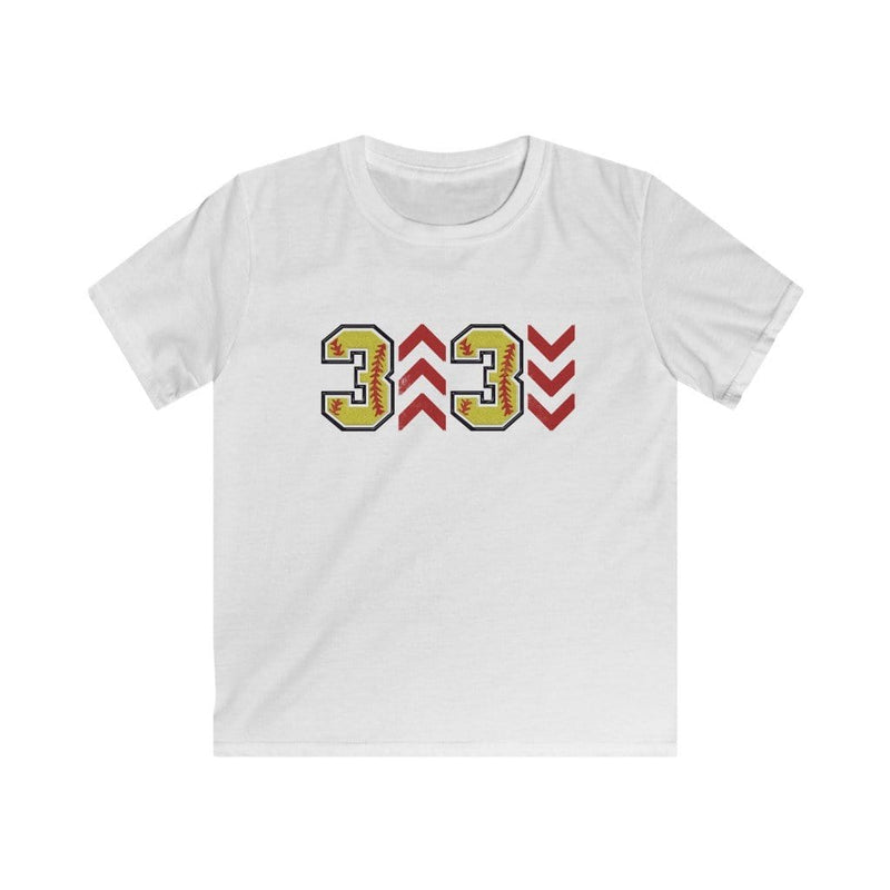 Printify Kids clothes XS / White Kids: 3 Up 3 Down Softball Graphic Tee