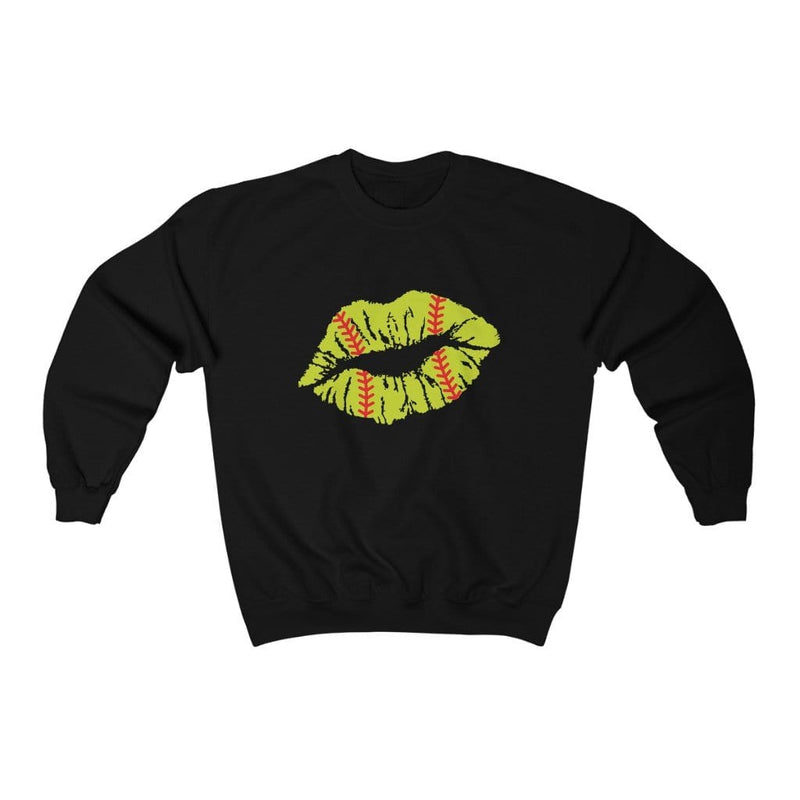 Printify Sweatshirt L / Black Softball Lips Graphic Sweatshirt