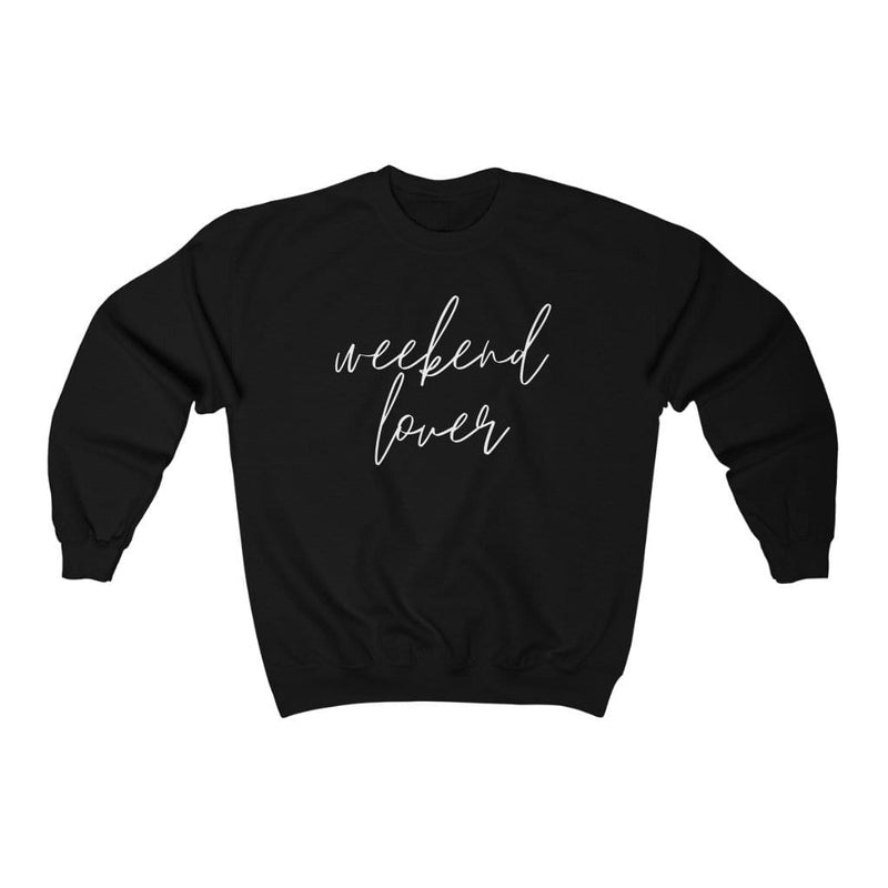Printify Sweatshirt L / Black Weekend Lover Crew Graphic Sweatshirt