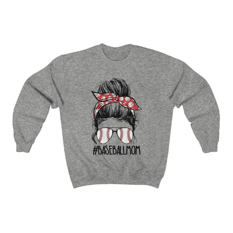 Printify Sweatshirt L / Sport Grey Baseball Mom Graphic Sweatshirt