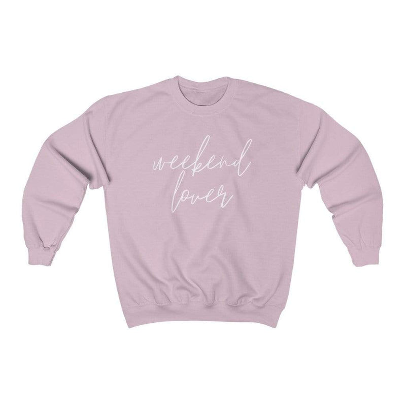 Printify Sweatshirt S / Light Pink Weekend Lover Crew Graphic Sweatshirt