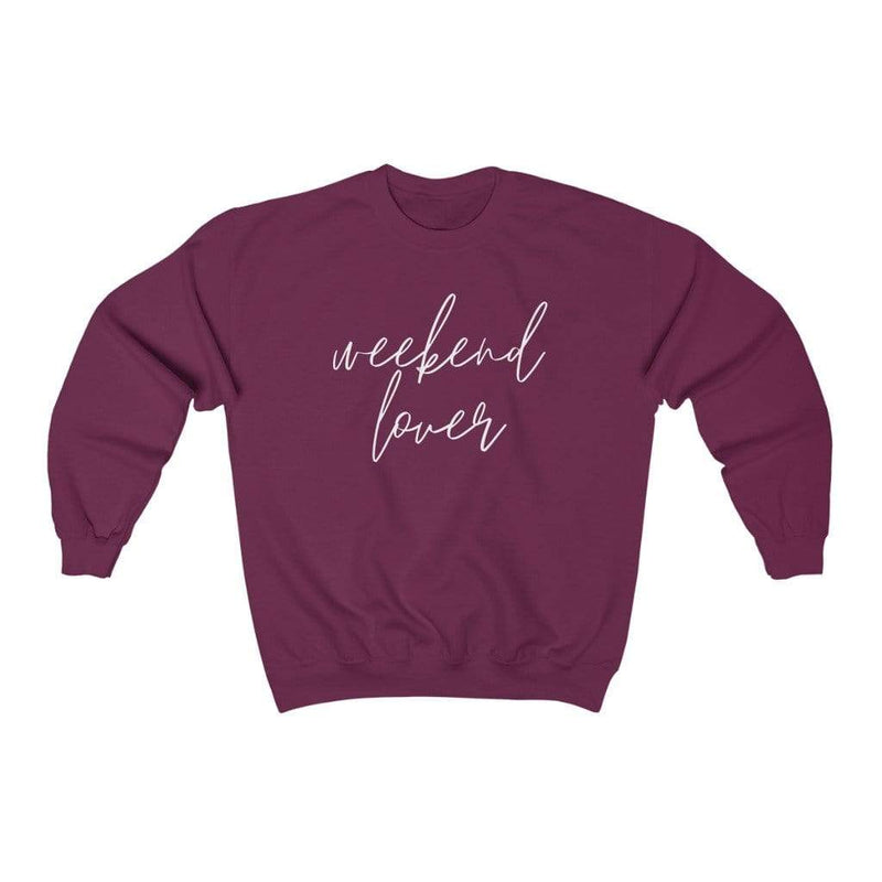 Printify Sweatshirt S / Maroon Weekend Lover Crew Graphic Sweatshirt