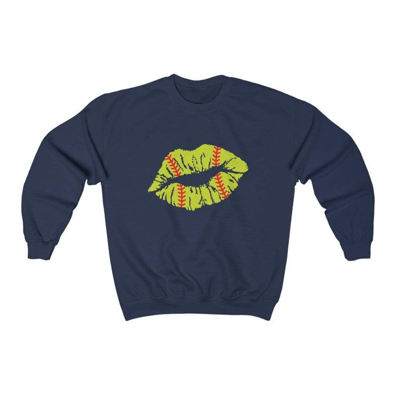 Printify Sweatshirt S / Navy Softball Lips Graphic Sweatshirt