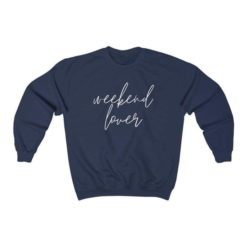 Printify Sweatshirt S / Navy Weekend Lover Crew Graphic Sweatshirt