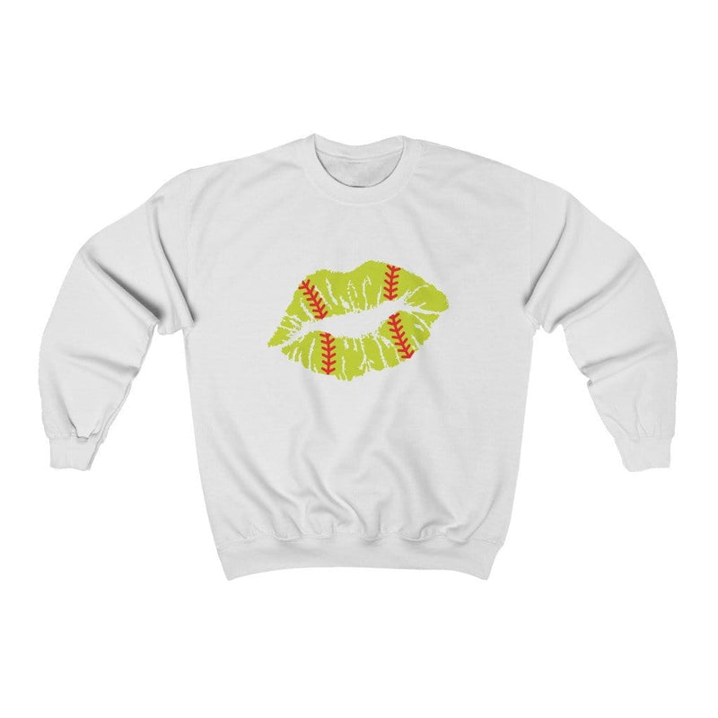 Printify Sweatshirt S / White Softball Lips Graphic Sweatshirt