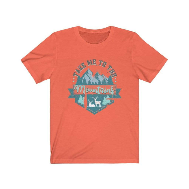 Printify T-Shirt Coral / XS Take Me To The Mountains Graphic Tee