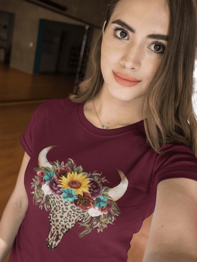 Printify T-Shirt Leopard Cow Skull Graphic Tee
