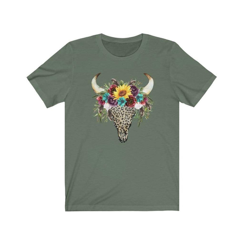 Printify T-Shirt Military Green / XS Leopard Cow Skull Graphic Tee
