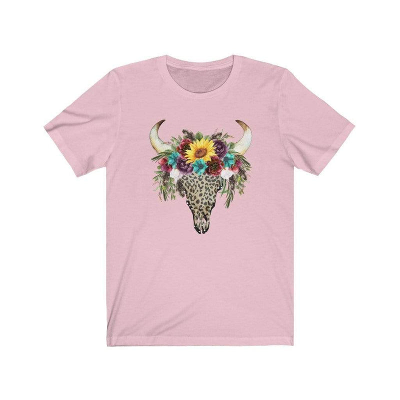 Printify T-Shirt Pink / XS Leopard Cow Skull Graphic Tee