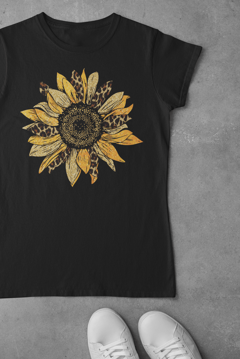 Printify T-Shirt Sunflower Leopard Graphic Tee