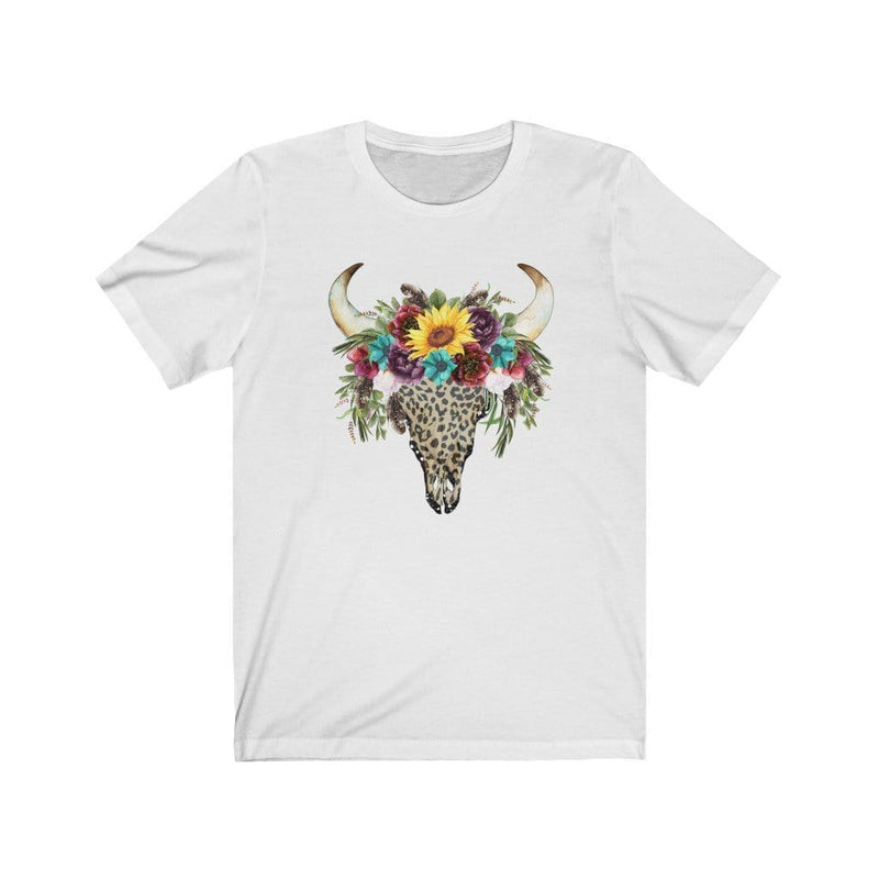 Printify T-Shirt White / XS Leopard Cow Skull Graphic Tee