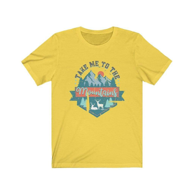 Printify T-Shirt Yellow / L Take Me To The Mountains Graphic Tee