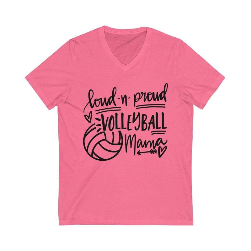 Printify V-neck Neon Pink / XS Loud & Proud Volleyball Graphic V-Neck Tee