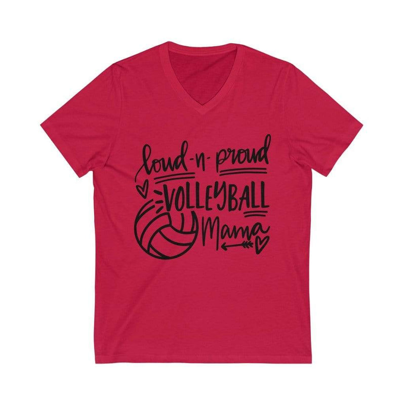 Printify V-neck Red / 2XL Loud & Proud Volleyball Graphic V-Neck Tee