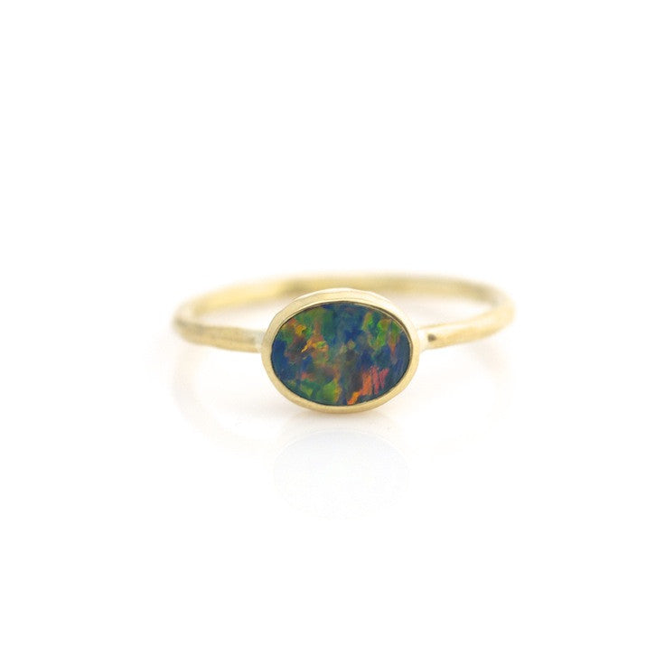 OVAL BOULDER OPAL STACKING RING
