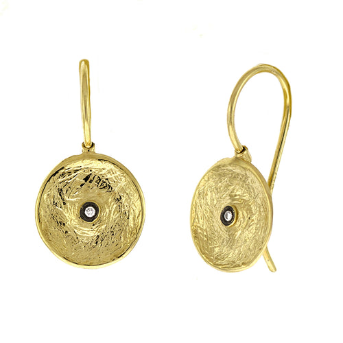 Textured Disc & Diamond Drop Earrings