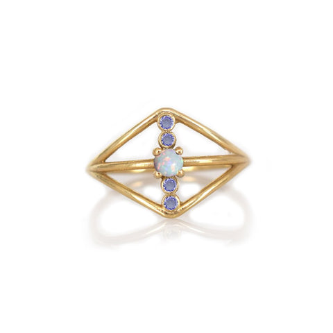Tanzanite & Opal Warrior Shield Ring