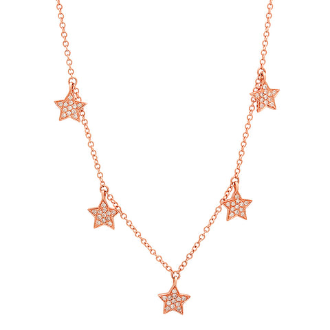 Pave Diamond Stars Necklace