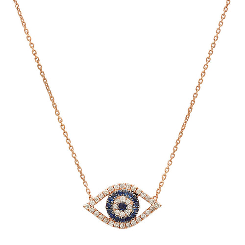 Pave Diamond & Sapphire Open Evil Eye Necklace
