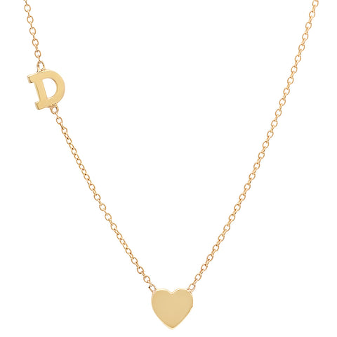 Gold Heart & Initial Necklace