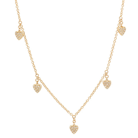 Pave Diamond Multi-Heart Necklace