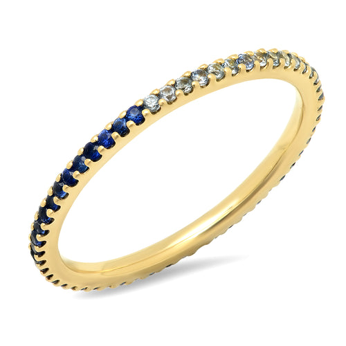 Blue Sapphire Ombre Eternity Band