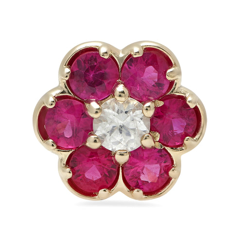Single Ruby Flower Stud